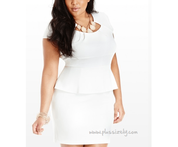 All White Plus Size Peplum Dress Image