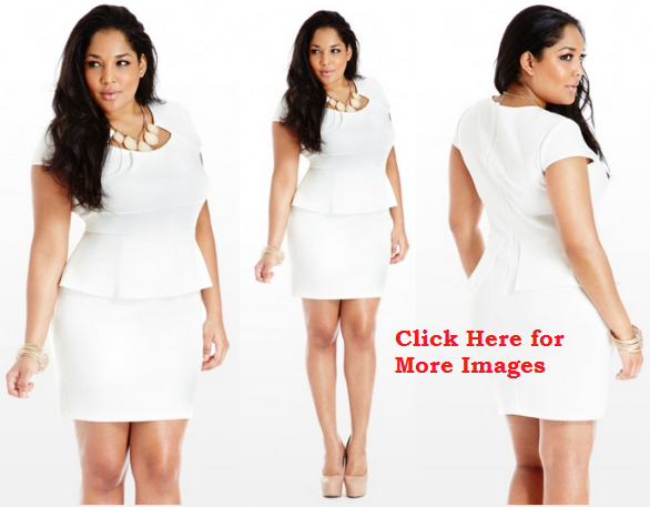 All White Plus Size Peplum Dresses for Young Women Sexy