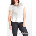 All White Plus Size Peplum Dress, Feminine and Graceful