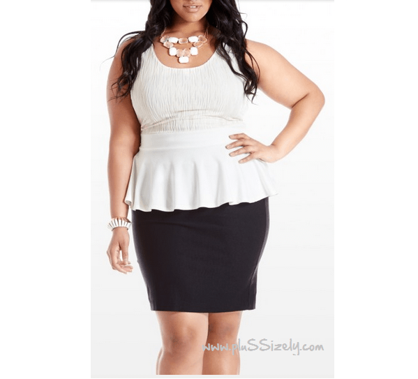 Plus Size Peplum Dress in White Image