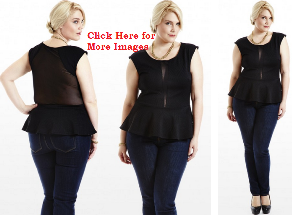 Plus size black peplum dresses sheer mesh back sleeveless