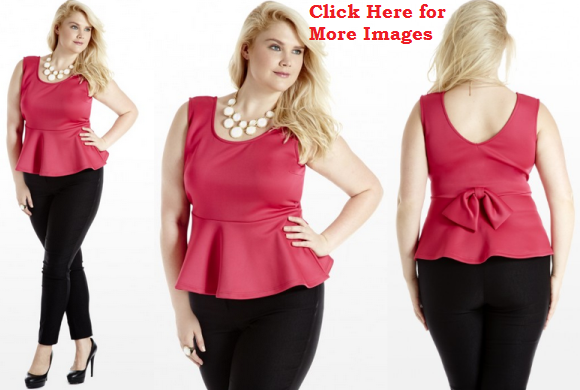 Plus size peplum top pink cheap
