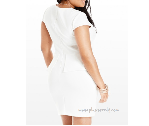 Trendy White Plus Size Peplum Dress Image