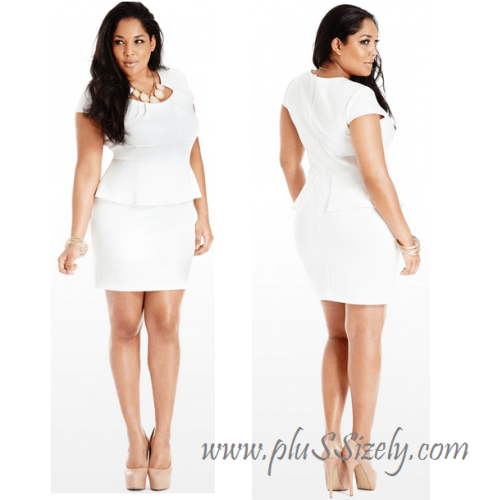 Beauty Design for Plus Size White Lace Peplum Dress Image