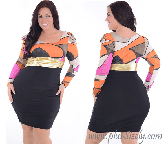 Colorfull Big Women Plus Size Nightclub Dresses Image