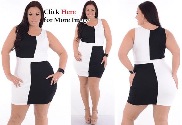 Complusion Plus Size Black and White Club Dresses