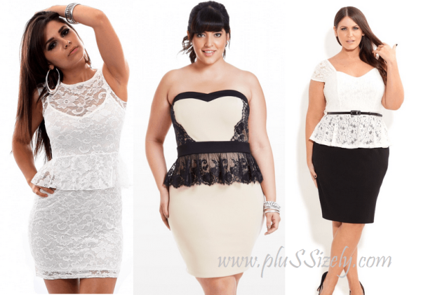Cute 2013 Plus Size White Lace Peplum Dress Image