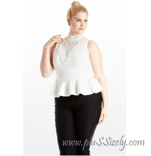 Cute Design Plus Size White Lace Peplum Dress Image
