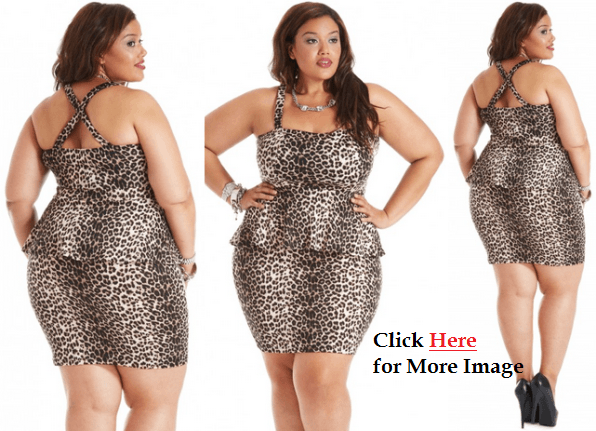Plus Size Animal Peplum Dress