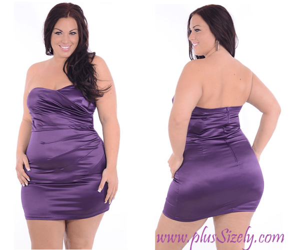 Purple Color Plus Size Nightclub Dresses Image