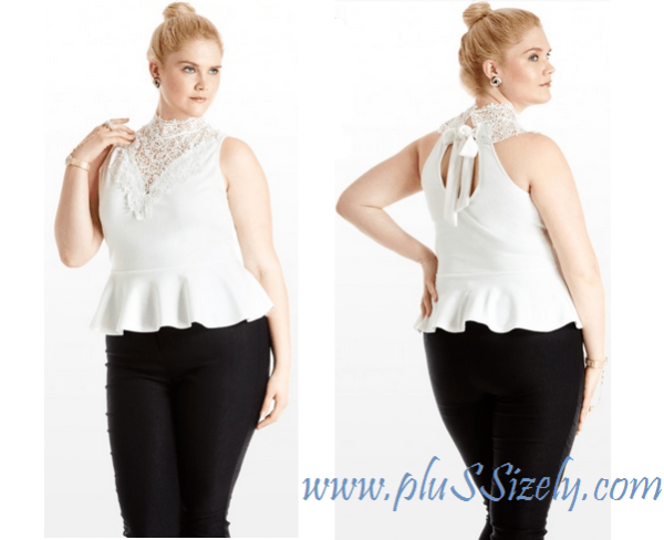 Trendy Plus Size White Lace Peplum Dress Image