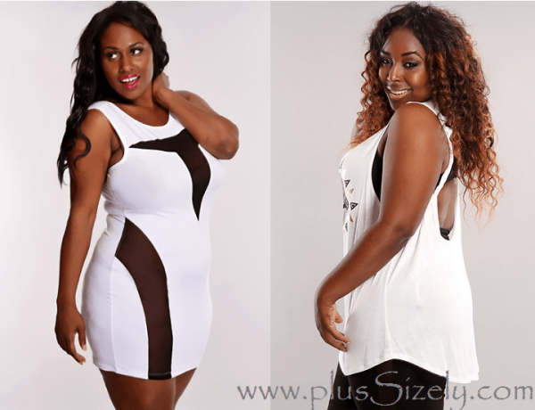 Trendy White Plus Size Club Dresses for Black Women Image