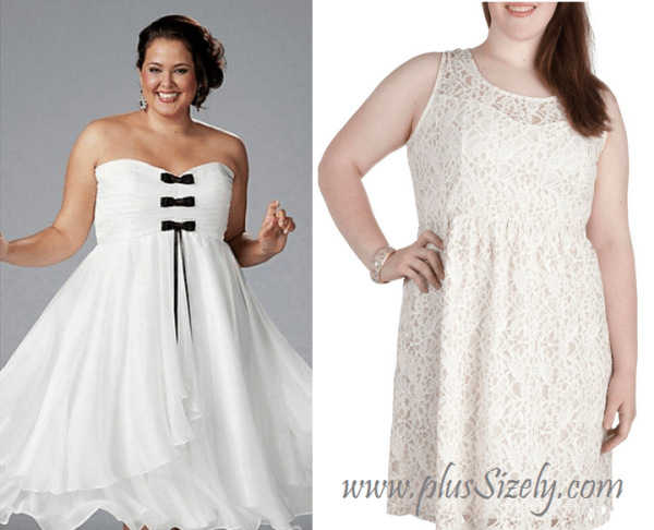 White Club Dresses for Big Women Image