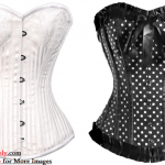 Black and White Plus Size Corset Tops Image
