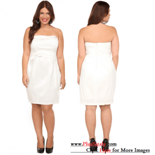 Cute Trend Plus Size White Party Dress Image