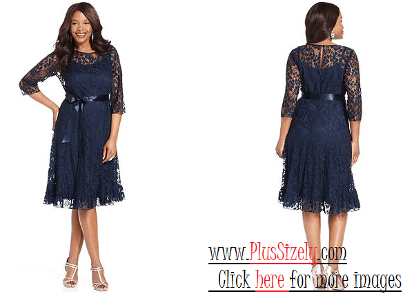 Dark Blue Plus size cocktail dresses with sleeves Image