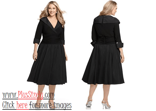 Elegant Black Plus size cocktail dresses with sleeves Image