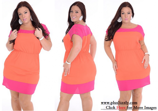 Lighting Orange Plus Size Club Clothes Image