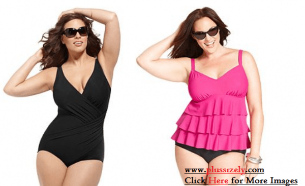 Pink and Black Plus Size Swimsuits For Women Image
