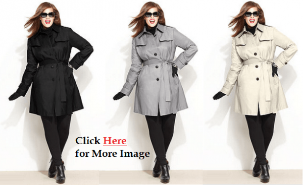 Plus Size Outerwear for Women Trench Raincoat