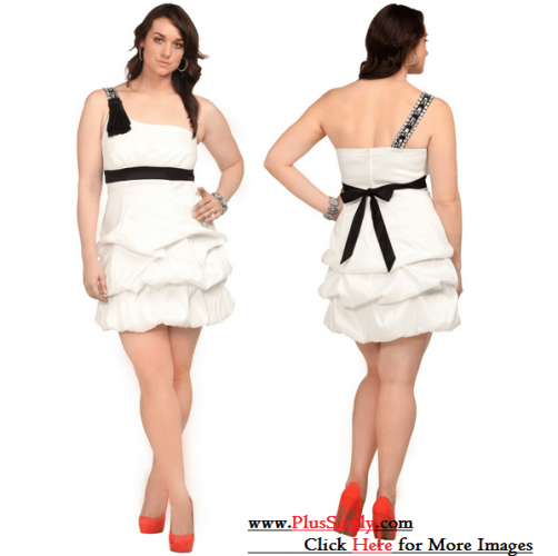 Plus Size White Party Dress Image