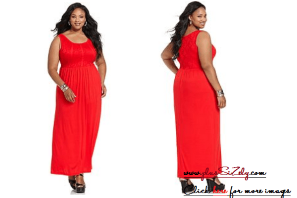 Red Plus Size Long Dresses for Black Women Image