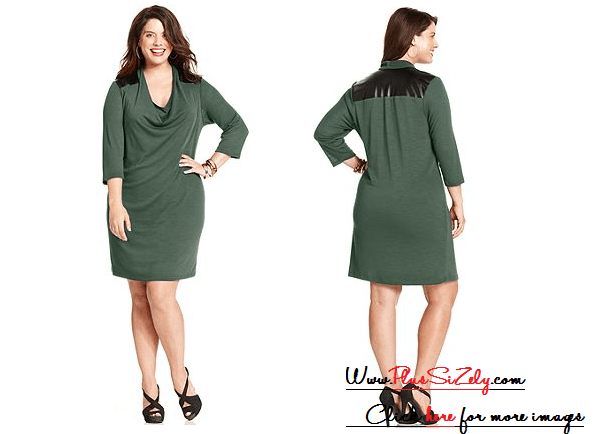 Soft Green Plus Size Sweater Dress Image