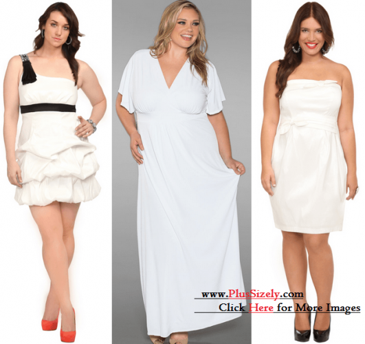 Various Cheap Plus Size White Party Dress Image