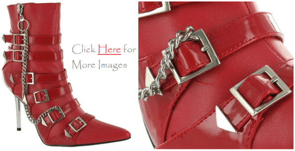 Red Plus Size Knee High Heel Boots