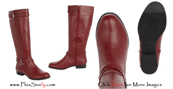 Red Plus Size Leather Boots For Women Images