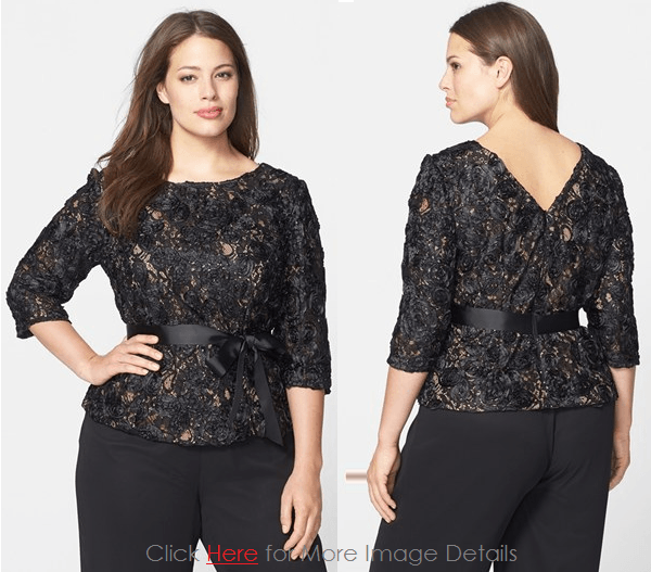 fa5660d7f67 Plus Size Black Lace Tops  Sweet and Chic Elegant Plus Size Black ...