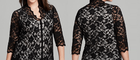 Glamour Plus Size Black Lace Tops