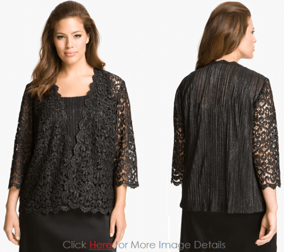 Plus Size Black Lace Tops