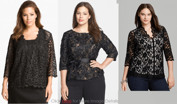 Trendy Plus Size Black Lace Tops