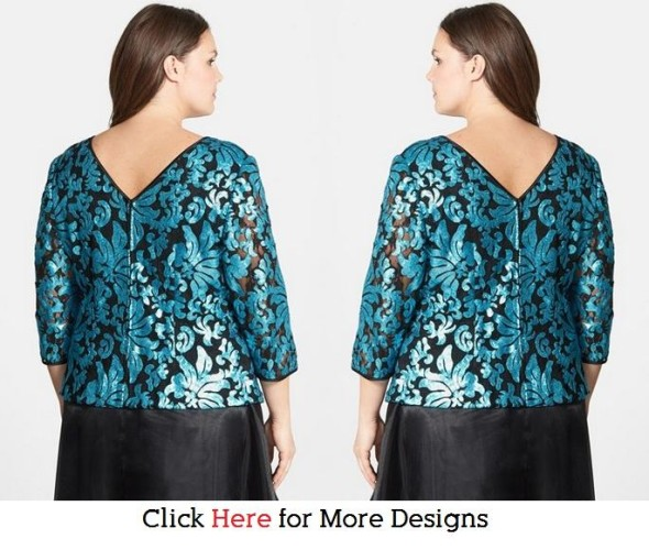 Glow Blue Casual Plus Size Sequin Tops Images